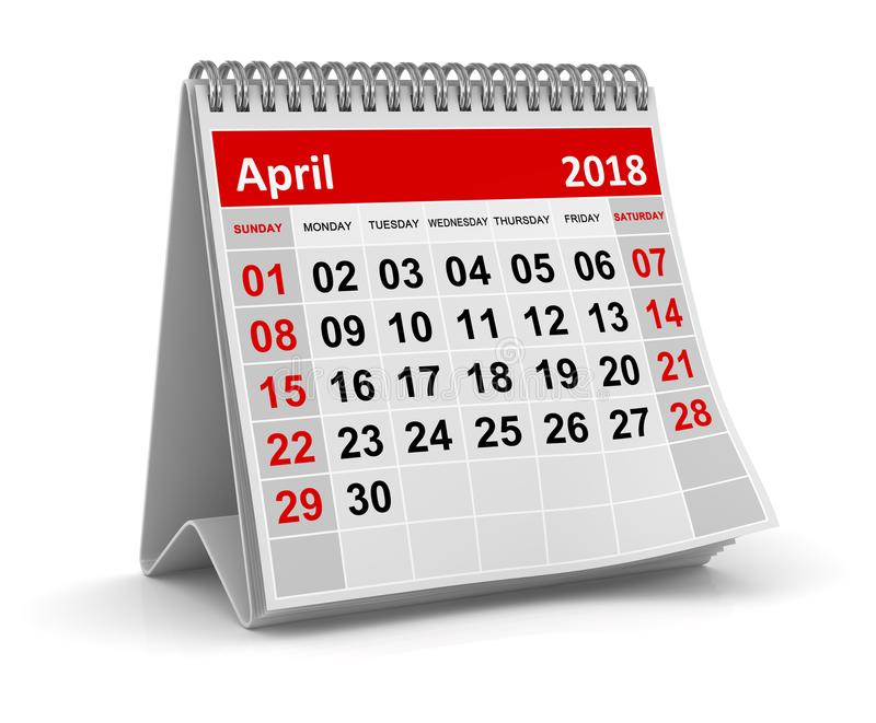 April 2018 - kalender vektor illustrationer