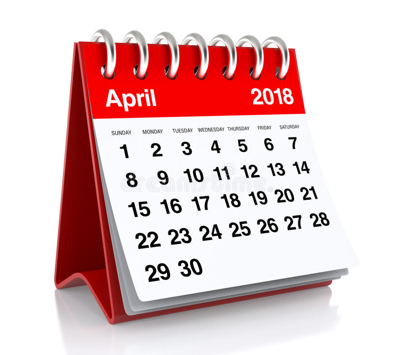 April 2018 kalender stock illustrationer