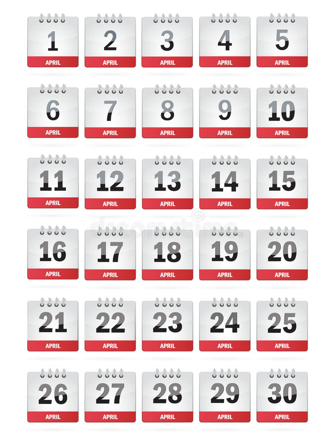 April-Kalender-Ikonen stock abbildung
