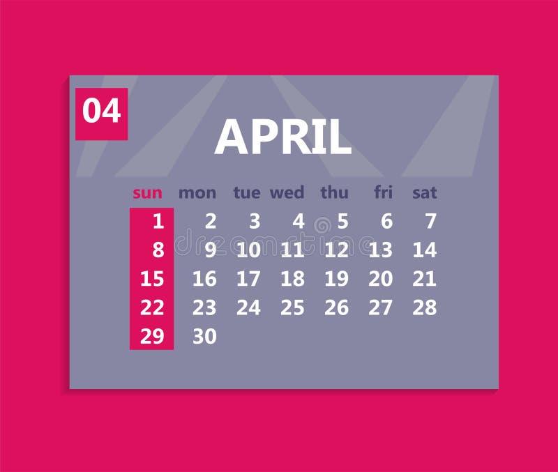 April kalender 2018 Veckastarter på söndag Affärsvektorillu stock illustrationer