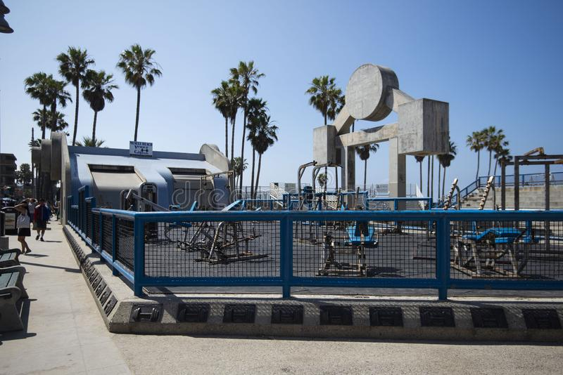 28. April 2019 - Kalifornien, Vereinigte Staaten: Muskel-Strand, eine Heraustürturnhalle bei Venice Beach, Kalifornien stockfotos