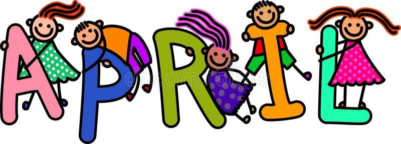 April Kids vector illustration