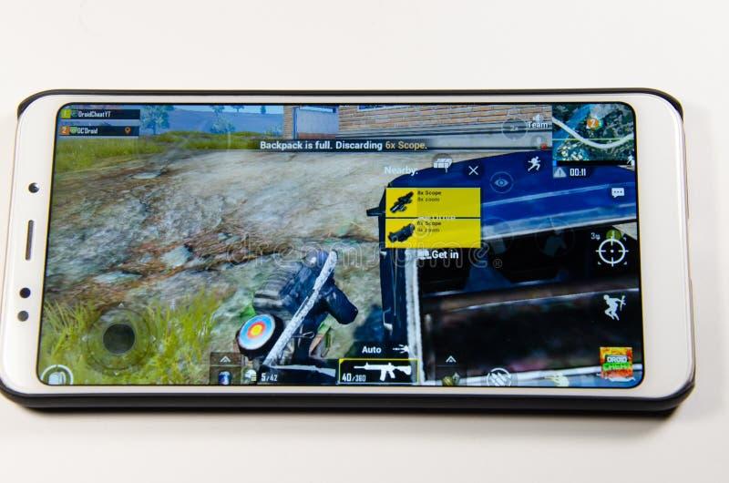 April 2019 Kramatorsk Ukraina Mobil applikationans spelar royaltyfria foton