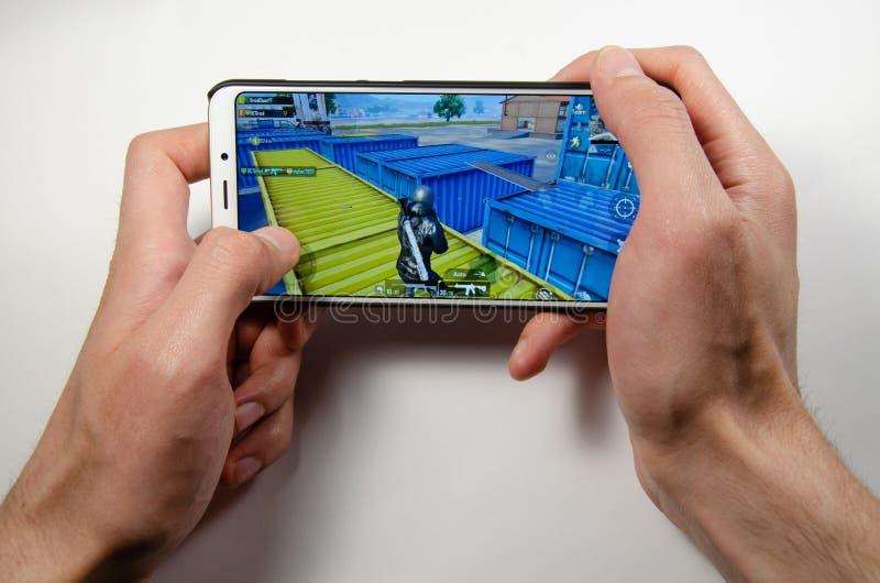 April, 2019. Kramatorsk, Ukraine. Mobile application ans games stock photography