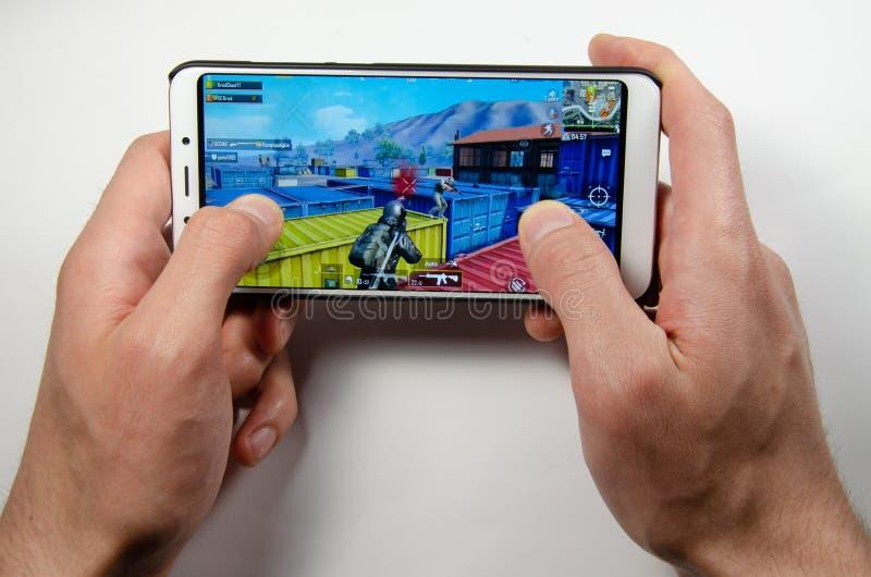 April, 2019. Kramatorsk, Ukraine. Mobile application ans games stock image