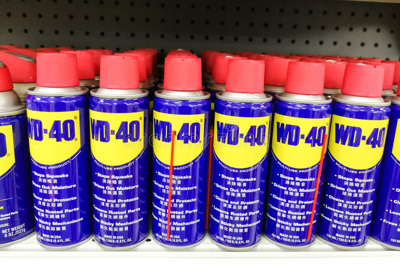 April 4, 2017, KUALA LUMPUR, MALAYSIA - WD-40 is the trademark name of. The penetrating oil and water-displacing spray is now available in Malaysia hardware royalty free stock photography