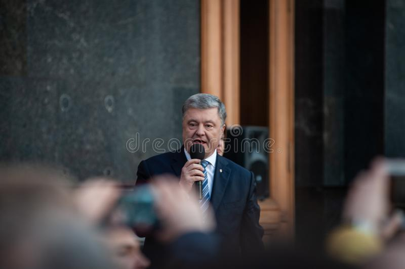 Poroshenko  thanked Ukrainians who came to thank him and support him stock image