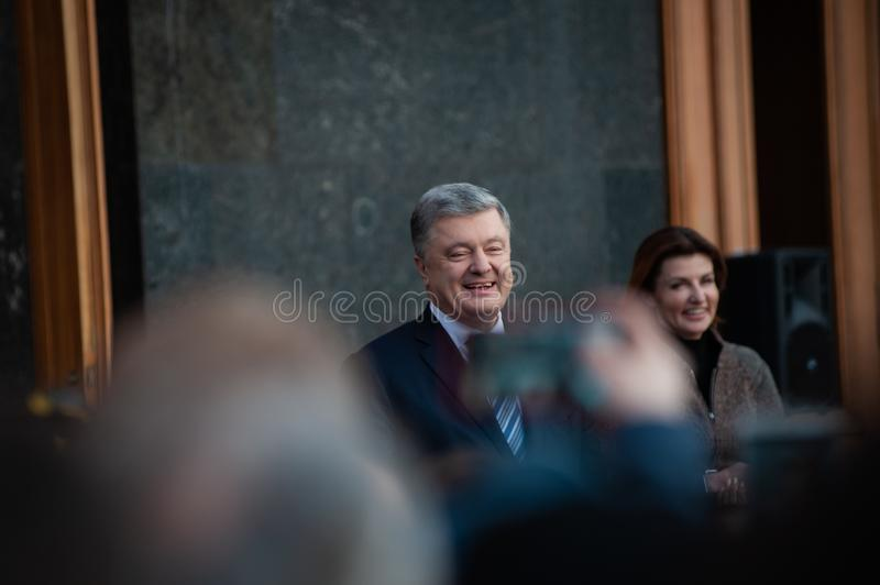 Poroshenko  thanked Ukrainians who came to thank him and support him stock images