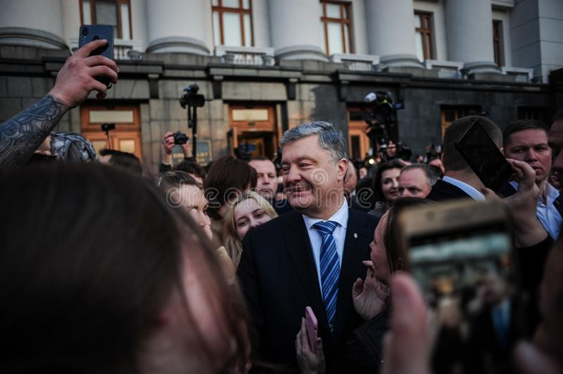 Poroshenko  thanked Ukrainians who came to thank him and support him royalty free stock photography