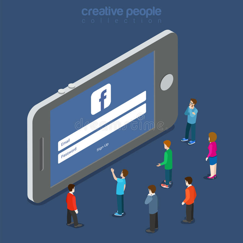 3 april, login van 2016 aan 3d vector van facebook de vlakke smartphone stock illustratie