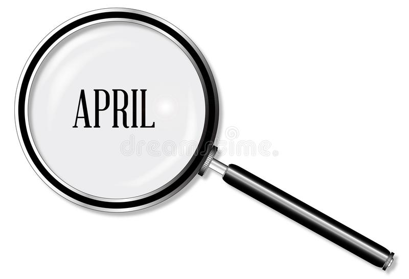 April Magnifying Glass stock illustratie