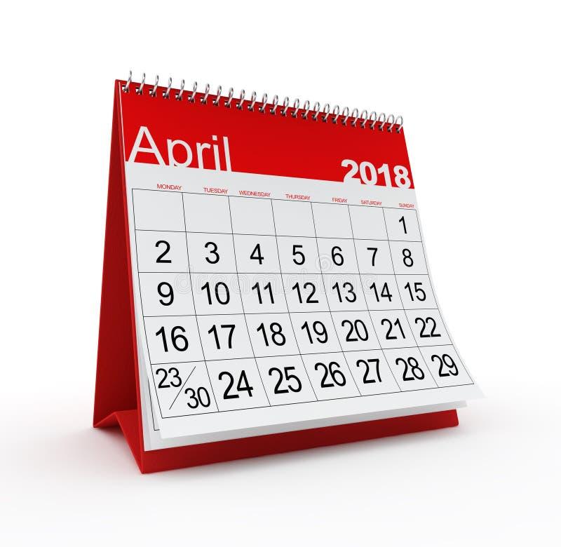 April 2018 Monthly Calendar vector illustration