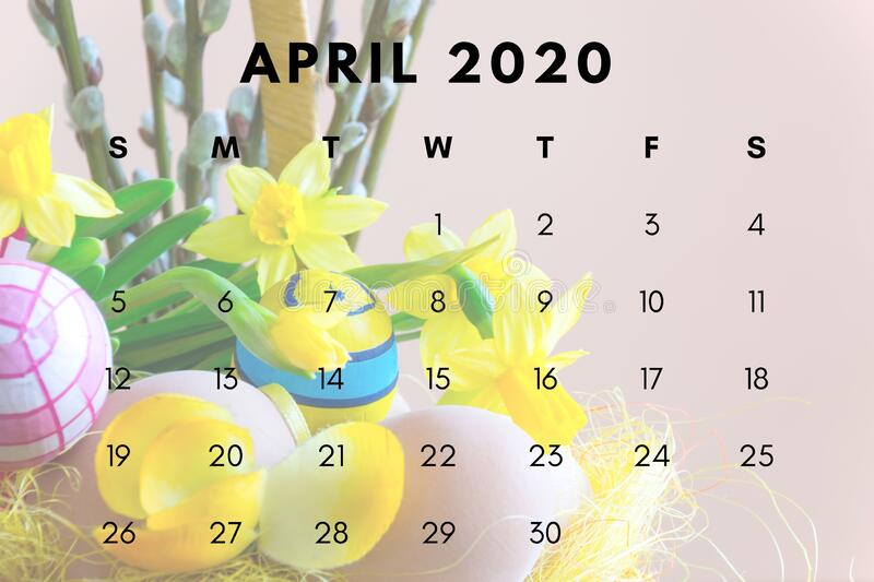 April 2020 Monthly Calendar Wallpaper Stock Photo Image Of March