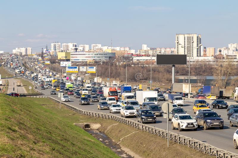 11 April 2019. Moscow, Russia: heavy traffic on moscow ring road royalty free stock photos