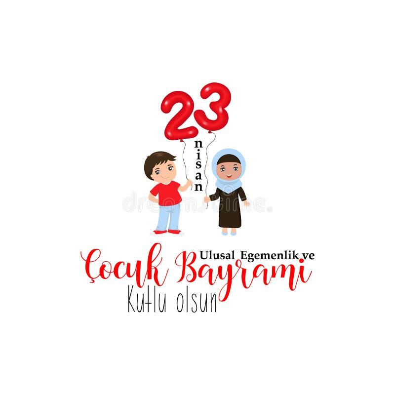 23 april, Nationale Soevereiniteit en Kinderen` s Dag Turkse tekst: 23 april, Nationale Soevereiniteit en Kinderen` s Dag stock illustratie