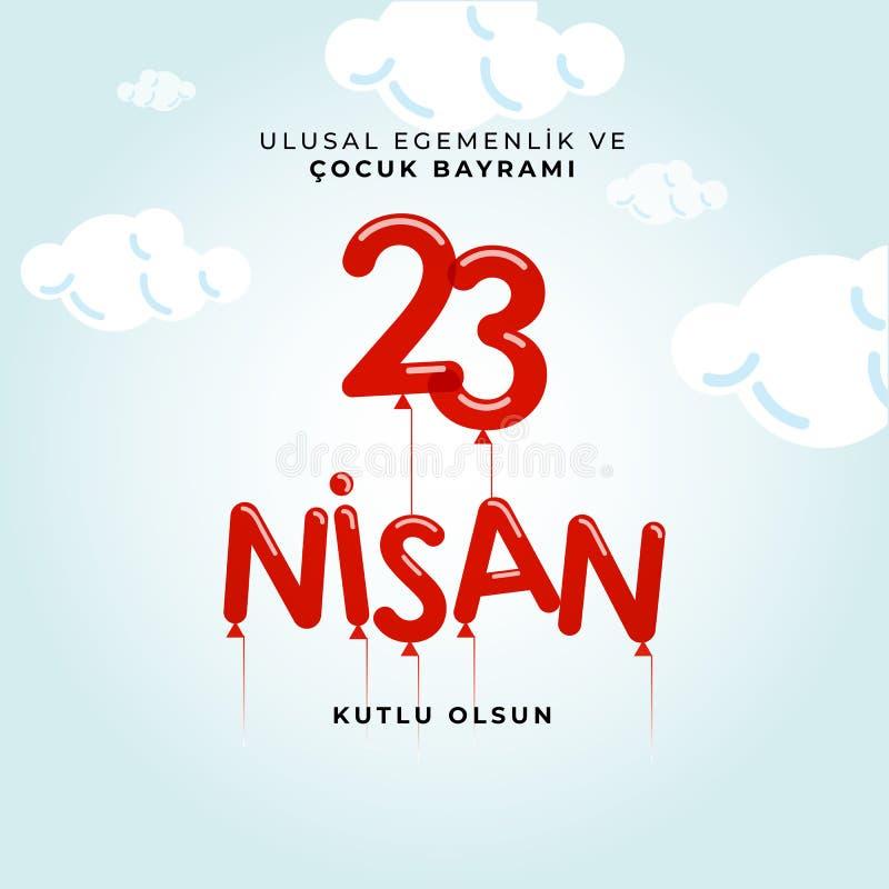 23. April nationaler Souveränitäts- und Kindtag in die Türkei-Vektor-den Illustrationen stockfoto