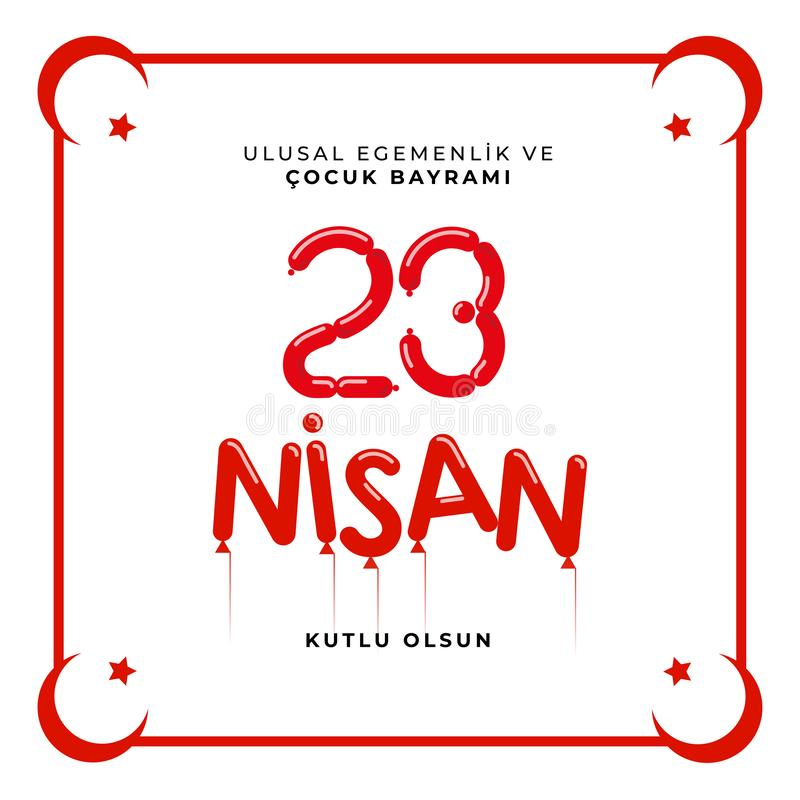 23. April nationaler Souveränitäts- und Kindtag in die Türkei-Vektor-den Illustrationen stockfotografie