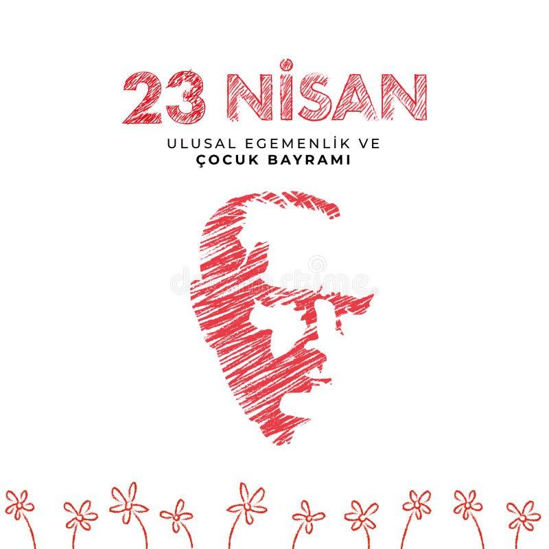 23. April nationaler Souveränitäts- und Kindtag in die Türkei-Vektor-den Illustrationen stockbilder