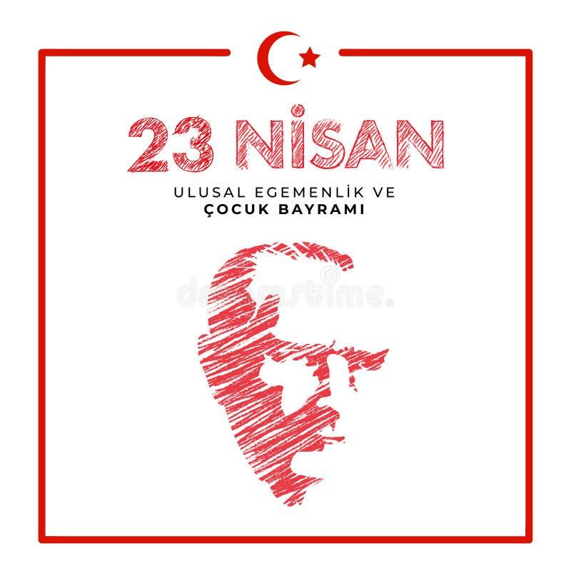 23. April nationaler Souveränitäts- und Kindtag in die Türkei-Vektor-den Illustrationen stockbild
