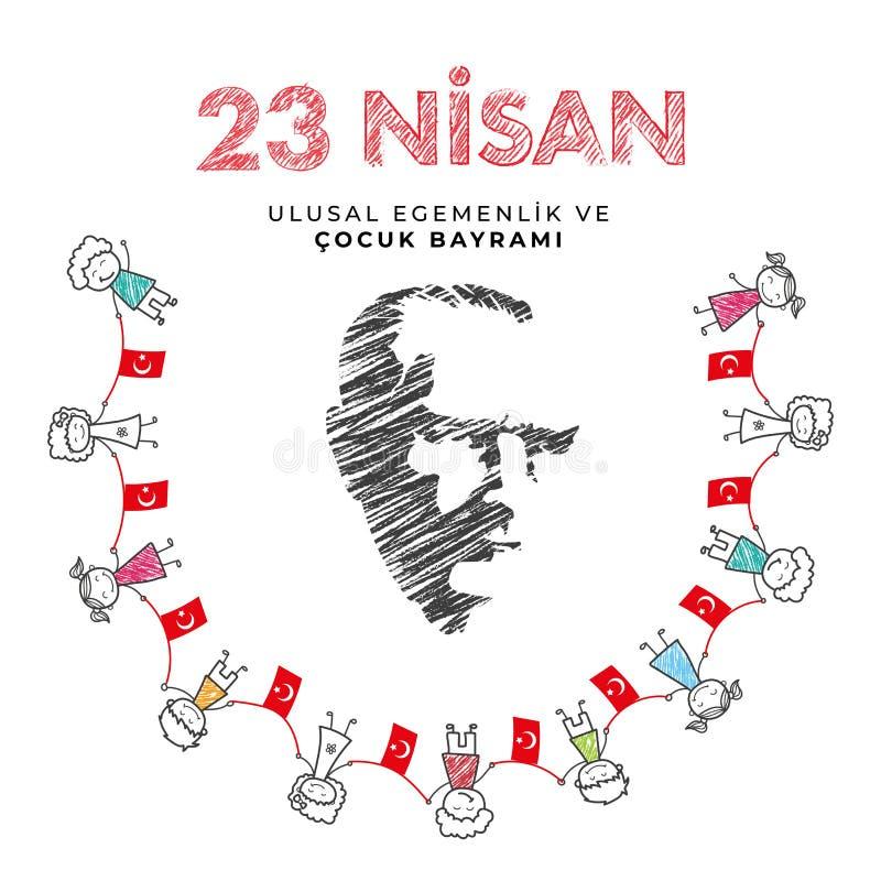 23. April nationaler Souveränitäts- und Kindtag in die Türkei-Vektor-den Illustrationen stockfotos