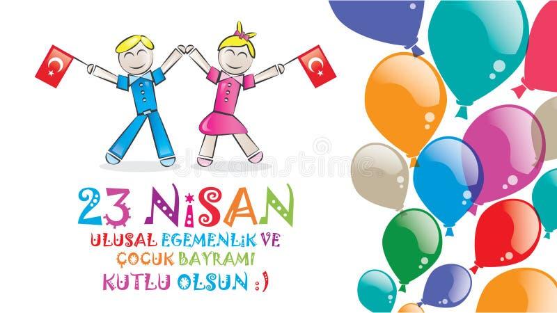 April 23 nationell suveränitet och barns dag vektor illustrationer