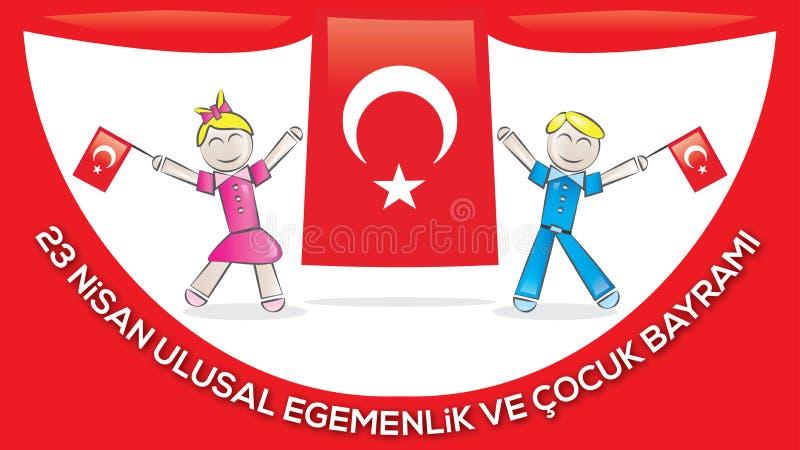 April 23 nationell suveränitet och barns dag royaltyfri illustrationer