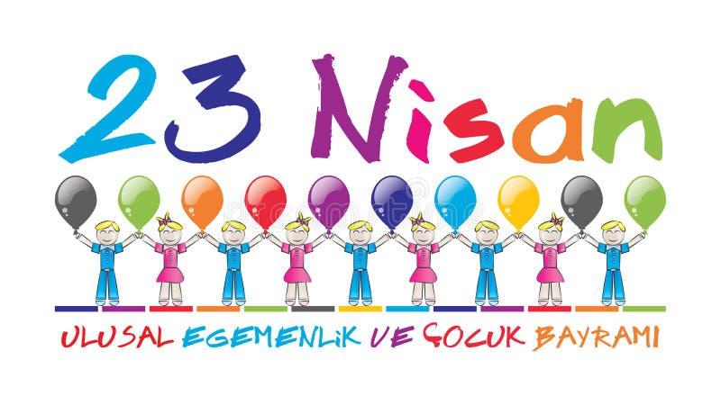 April 23 nationell suveränitet och barns dag stock illustrationer