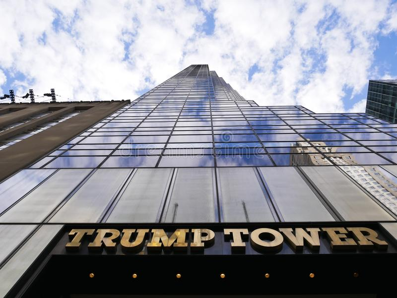 The Trump Tower seen from the bottom to the top. 29 april 2018-new york-usa- the Trump Tower seen from the bottom to the top royalty free stock image