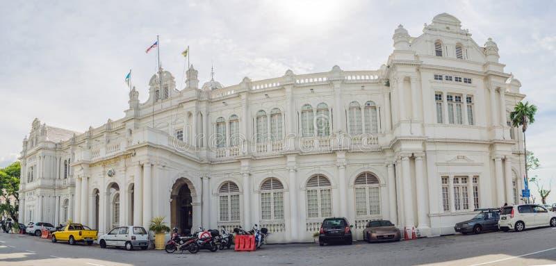 April 16, 2018 - Penang, Malaysia: Stadshus i George Town - Penang, Malaysia Brittisk byggd historisk byggnad avslutade b 1903 arkivbilder