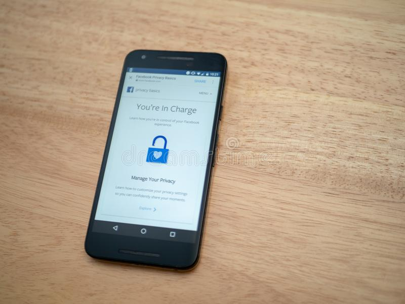 Picture of phone with Facebook Privacy settings. APRIL 4, 2018: A picture of a phone with Facebook's privacy settings open. This has been a hot topic due royalty free stock photo