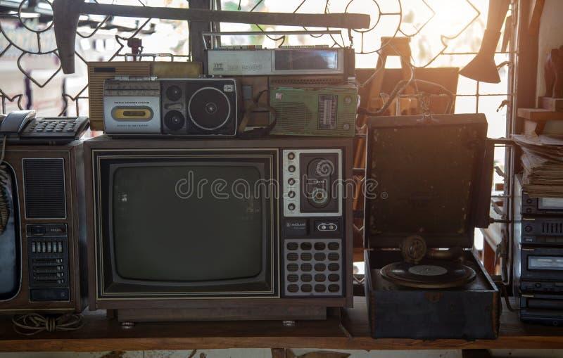 Vintage analog television music player radio stock photo