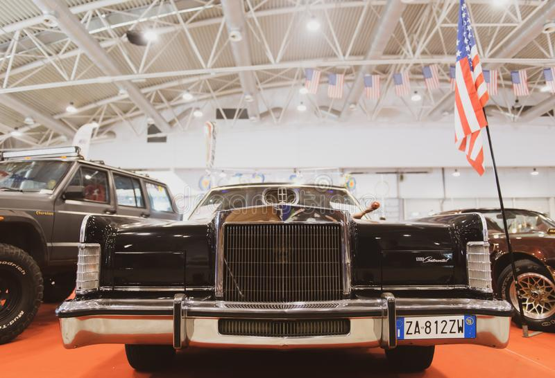 2019 april 26 Rome, Italy, American cars exhibit. Lincoln Continental black royalty free stock photo