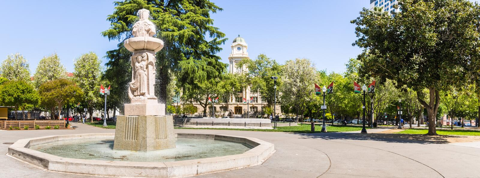 April 14, 2018 Sacramento / CA / USA - Panoramic view of Cesar Chavez Plaza situated in front of the City Hall building royalty free stock photo