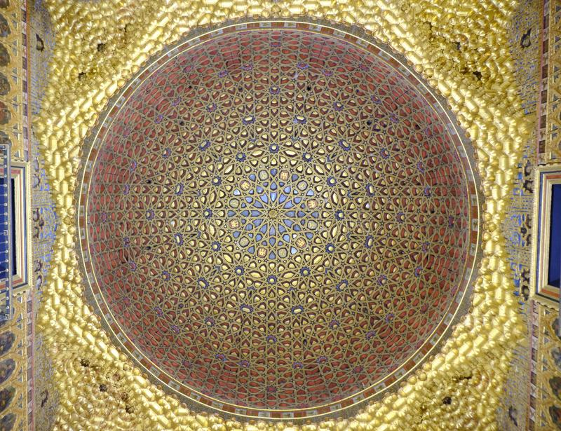 April 2019 - Seville Spain - Interior view of arabic decoration in the ceiling of Royal Alcazar royalty free stock photography