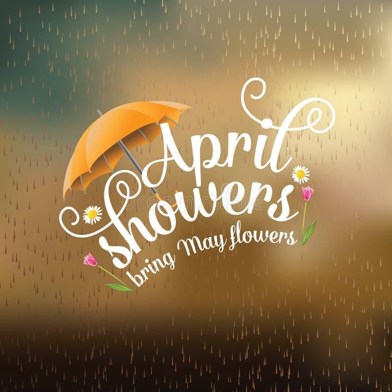April showers bring May flowers design stock illustration