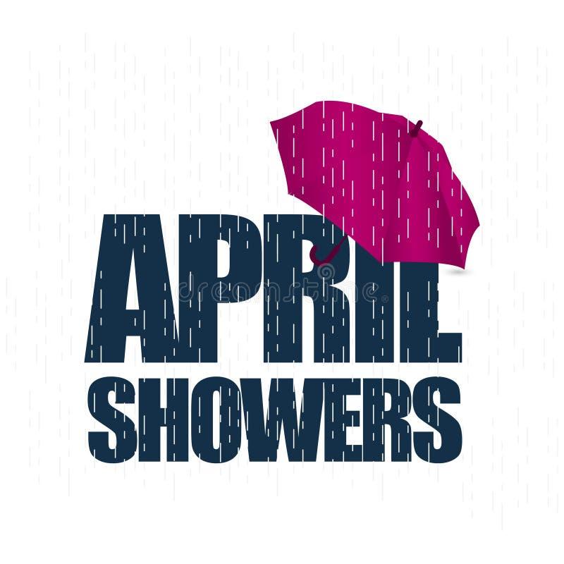 April Showers May Flowers Vector-de Illustratie van het Malplaatjeontwerp stock illustratie