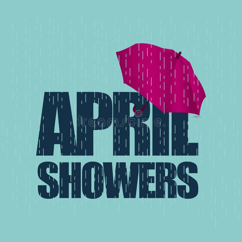 April Showers May Flowers Vector Template Design Illustration. Rain umbrella spring background season bring weather symbol graphic water object drop isolated vector illustration