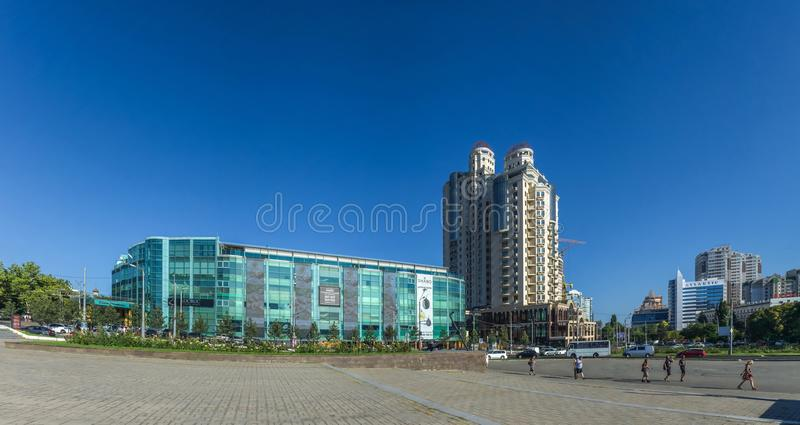April 10 Square in Odessa Ukraine. ODESSA, UKRAINE - 08.14.2018. April 10 Square panoramic view near Arcadia region stock photo