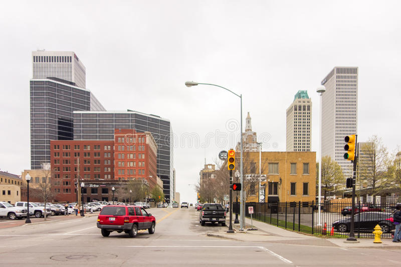 April 2015 - Stormy weather over Tulsa oklahoma Skyline royalty free stock images