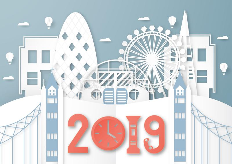 April 03, 2019: Top famous landmark and building of London for travel and tour. Vector illustration design in paper cut and craft royalty free illustration
