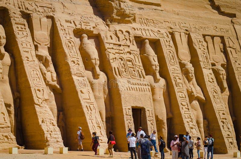 April 2019. Tourists in the Templo Mayor of Abu Simbel stock photos