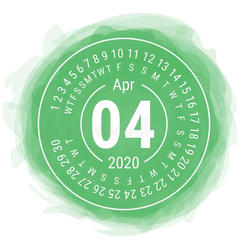 April 2020. Vector English сalendar. Watercolor kid`s sketch doodle style. Color hand drawn frame. Round calender. Smoky circle.  stock illustration