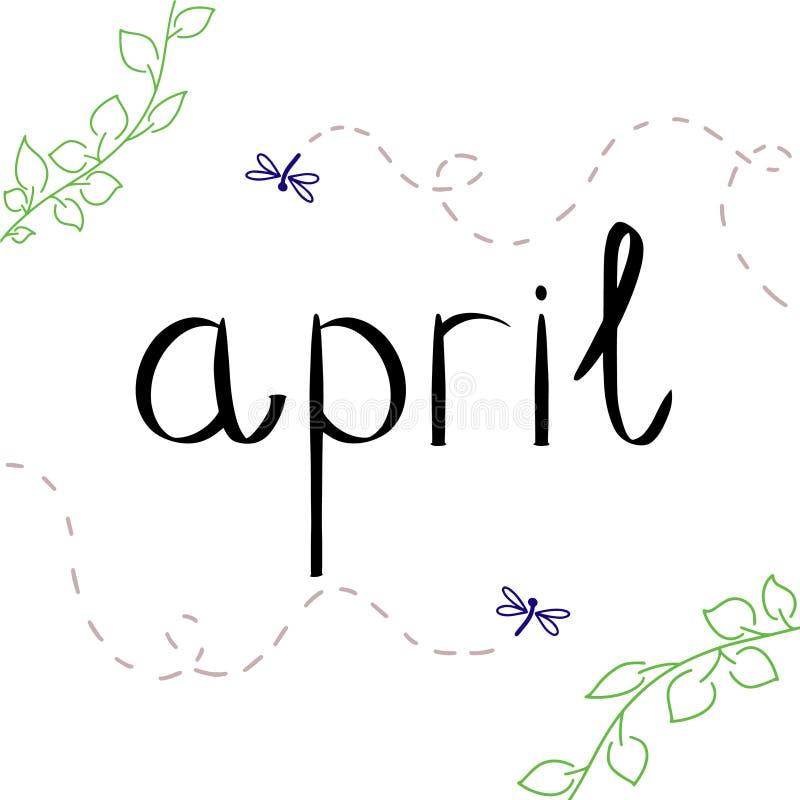 April-vector met groen blad en violet insect De lente het van letters voorzien stijl voor kalender, maandpictogram, achtergrond V stock illustratie