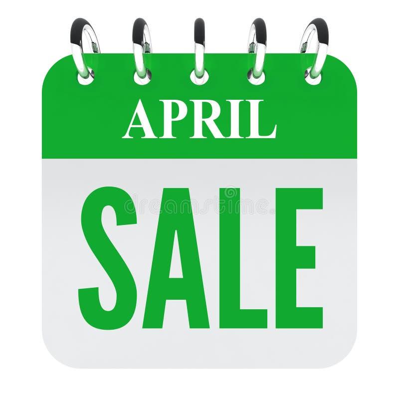 April-verkoop op groen kalenderdossier royalty-vrije illustratie