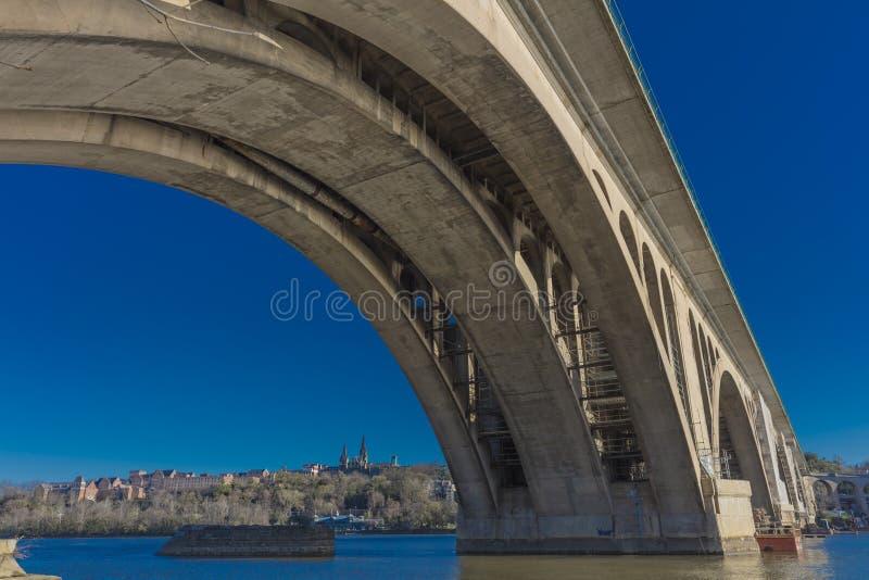 APRIL 08, 2018 - WASHINGTON D C - Den nyckel- bron och Georgetown i bakgrund ses på Potomacen Turism arkitektur fotografering för bildbyråer