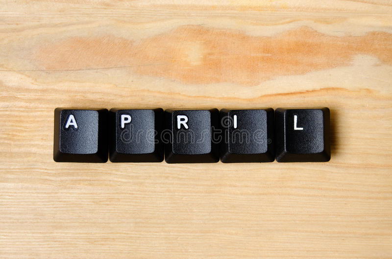 April word. With keyboard button stock photos