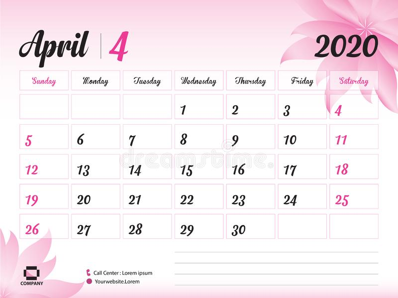 April 2020 Year Template, Calendar 2020 Vector, Desk Calendar Design, pink flower concept for cosmetics, beauty, spa, business. Week Start On Sunday, Planner stock illustration