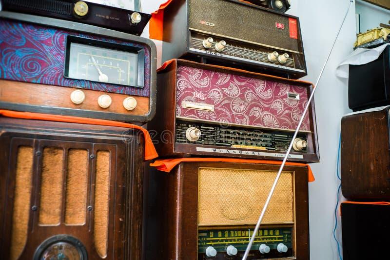 Old radios in an antique shop, Qianmen, Beijing stock images
