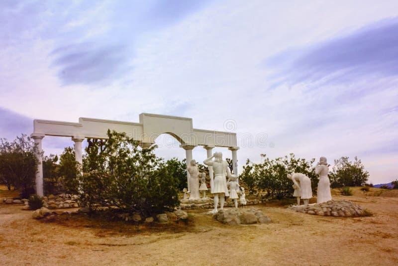 7 april, 2017 - Yuccavallei, Californië, Verenigde Staten: Het park van woestijnjesus christ in Yuccavallei, San Bernardino Count royalty-vrije stock fotografie