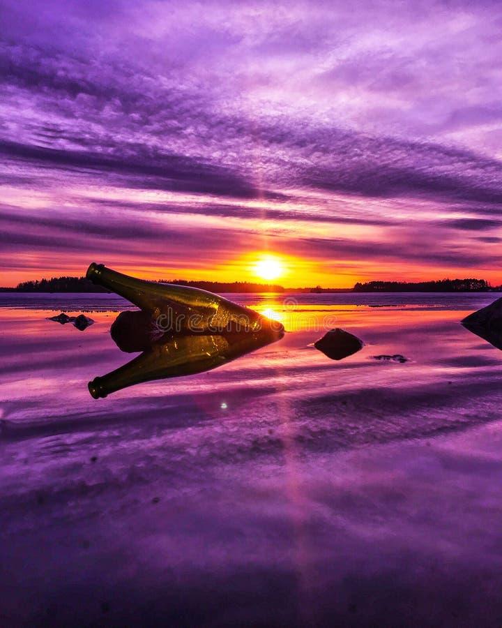 April-zonsondergang stock afbeelding